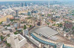 London, UK. Aerial view of Waterloo station and city skyline Stock Photos