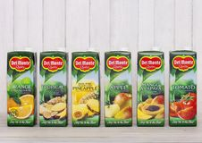 LONDON, UK - APRIL 27, 2018: Del Monte Juices On Wooden Background.Tomato, Apple, Fruit, Pineapple, Orange And Tropical Juices. Royalty Free Stock Image