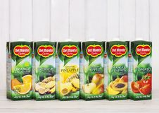 LONDON, UK - APRIL 27, 2018: Del Monte Juices On Wooden Background.Tomato, Apple, Fruit, Pineapple, Orange And Tropical Juices. Stock Photo