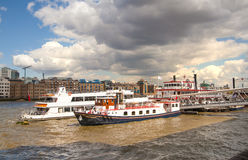 LONDON, UK - APRIL 30, 2015: Boats on the River Thames Stock Photos
