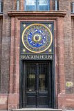 LONDON, UK - APRIL 1, 2019: Bracken House Clock, Astronomical Year Clock in Cannon Street. Bracken House Clock, Astronomical Year Clock in Cannon Street stock photography