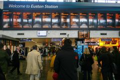 Rush hour at London Euston train station Royalty Free Stock Photography