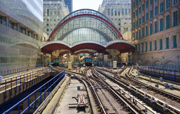 LONDON, UK - APRIL 24, 2014: Canary Wharf DLR docklands station in London Royalty Free Stock Images