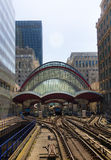LONDON, UK - APRIL 24, 2014: Canary Wharf DLR docklands station in London Stock Photography
