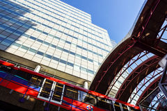 LONDON, UK - APRIL 29, 2017: The Canary Wharf tube station serves the largest business district in the United Kingdom Royalty Free Stock Photography