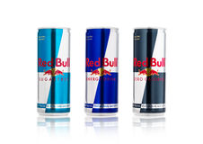 LONDON, UK - APRIL 12, 2017: Cans of Red Bull Energy Drink Sugar Free and Zero Calories on white background. Red Bull is the most Royalty Free Stock Photo