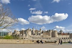 Royal Palace and Fortress of the Tower of London a historic castle and popular tourist attraction in central London, England. London, UK - April 2018: Exterior stock image