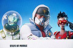 LONDON, UK - April 08, 2019 - Fortnite Video Game Screen. Fortnight Battle Royale online games from Epic Games. LONDON, UK - April 08, 2019 - Fortnite Video Game stock photography