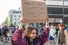 London, UK - April 15, 2019: The girl holding a banner reading Brexit Can Wait ... Planet Earth Can`t! Extinction Rebellion royalty free stock photography