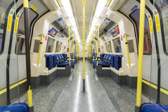 LONDON, UK - APRIL 07: Interior of empty Northern line undergrou Royalty Free Stock Photos