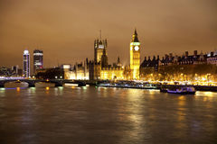 LONDON, UK - APRIL 5, 2014:  Night view of Big Ben and houses of Parliament Stock Image
