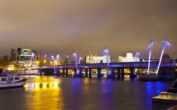 LONDON, UK - APRIL 5, 2014:  Night view of London eye, London UK Royalty Free Stock Image