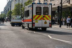 London, UK - April 15, 2019: Police van on the Oxford street. Extinction Rebellion campaigners blocked Oxford Circus, Marble Arch royalty free stock images