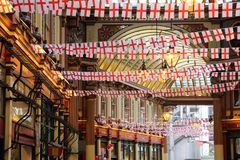 Saint George\'s Day. LONDON, UK - APRIL 22, 2016: Saint George\'s Day decorations in Leadenhall Market, London. Saint George is the patron saint of England Stock Photography