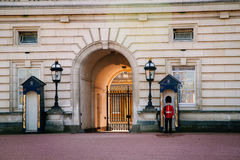 LONDON, UK - April 14, 2015: Sentry on duty at Buckingham Palace Stock Image