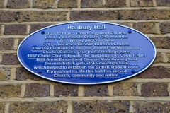 Hanbury Hall Plaque in London. LONDON, UK - APRIL 19TH 2018: A blue plaque detailing of Hanbury Hall on Hanbury Street in London, UK, on 19th April 2018 Royalty Free Stock Images