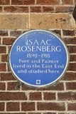 Isaac Rosenberg Plaque in London. LONDON, UK - APRIL 19TH 2018: A blue plaque marking the location where Poet and Painter Isaac Rosenberg once lived and studied stock photo