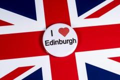 I Love Edinburgh. LONDON, UK - APRIL 27TH 2018: An I Love Edinburgh badge pictured over the UK flag, on 27th April 2018 royalty free stock photos