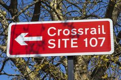 Crossrail Site in London. LONDON, UK - APRIL 19TH 2018: A sign pointing to the location of a Crossrail site in Whitechapel, London, on 19th April 2018 Royalty Free Stock Photo