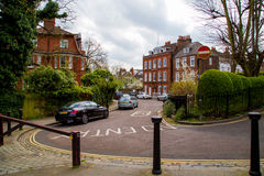 LONDON, UK - April, 13: Typical english street with victorian houses Royalty Free Stock Photography