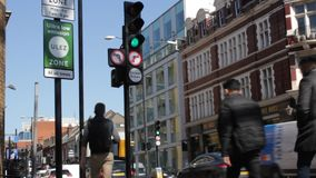 ULEZ, London, UK - April 9 2019: ULEZ Ultra low emission zone new charge London prepare for new Ultra Low Emission Zone ULEZ stock footage