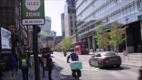 ULEZ London, UK - April 9 2019: ULEZ Ultra low emission zone new charge London prepare for new Ultra Low Emission Zone ULEZ stock footage