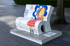 LONDON, UK - AUGUST 22 : Clarice Bean Bookbench in London on Aug. Ust 22, 2014 Stock Image