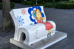 LONDON, UK - AUGUST 22 : Clarice Bean Bookbench in London on Aug Royalty Free Stock Images