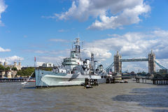 LONDON, UK - AUGUST 22 : HMS Belfast and Tower Bridge in London Stock Photography