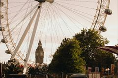 A London main sights. London Eye and Big Ben. Royalty Free Stock Images