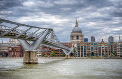 London, UK - August 8, 2016: The Millennium bridge and St Pauls cathedral Stock Photos