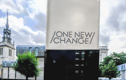 London, UK - August 3, 2017: One New Change sign outside the sho Royalty Free Stock Photos
