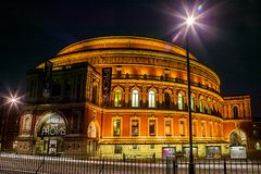 The Royal Albert Hall at night. London, UK, August 9, 2007 : The Royal Albert Hall in Kensington at night where the Proms classical concert is held each year Royalty Free Stock Image