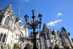 LONDON, UK - AUGUST 20, 2016: The Royal Courts of Justice from the Strand stock photography