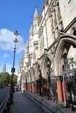 LONDON, UK - AUGUST 20, 2016: The Royal Courts of Justice from the Strand with details of the external columns and arcades Royalty Free Stock Images