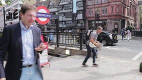 London / UK - August 6th 2019 - Chancery Lane underground station entrance.  stock footage