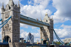 LONDON, UK - AUGUST 22 : Tower Bridge in London on August 22, 20. 14. Unidentified people Royalty Free Stock Photo