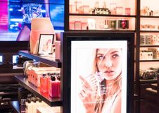 LONDON, UK - AUGUST 31, 2018: Victoria`s Secret products on shelves in luxury store. LONDON, UK - AUGUST 31, 2018: Victoria`s Secret products on shelves in Stock Photo