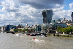 LONDON, UK - AUGUST 22 : View of modern architecture in the City. Of London on August 22, 2014. unidentified people Stock Photos