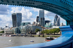LONDON, UK - AUGUST 22 : View of modern architecture in the City. Of London on August 22, 2014. unidentified people Stock Images