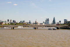 London, UK - 30 August 2016: View of Waterloo Bridge and the financial district in the background Stock Photos
