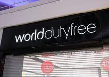 LONDON, UK - AUGUST 31, 2018: World Duty Free display board in airport. LONDON, UK - AUGUST 31, 2018: World Duty Free display board in international airport royalty free stock photo