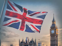 London, UK. Big Ben with flag of England, London, UK royalty free stock photography