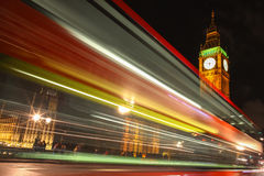 London Big Ben. Night bus light trails Stock Photo