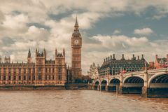 London, UK. Big Ben in Westminster Palace on River Thames royalty free stock photography