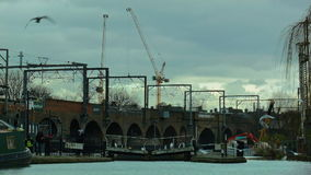 LONDON, UK - 2016. 02. 19: Birds above the Regent's Canal at Camden Lock. stock footage