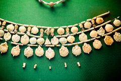29. 07. 2015, LONDON, UK, BRITISH MUSEUM - Egyptian jewellery. 29. 07. 2015, LONDON, UK, BRITISH MUSEUM - Egyptian jewels with beautiful details on green Royalty Free Stock Photography