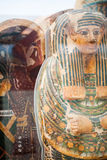 LONDON, UK, BRITISH MUSEUM - Painted scenes on egyptian coffins Royalty Free Stock Photos