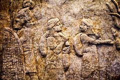 29. 07. 2015, LONDON, UK, BRITISH MUSEUM - Relief showing Babylonian prisoners. 605-562 BC in the museum royalty free stock images