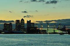 London UK business district and Dome at dusk Royalty Free Stock Photos